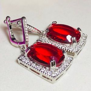 Sterling Silver.925 Red Ruby And CZ Earrings